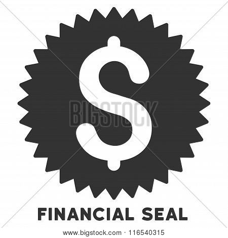 Financial Seal Vector Icon With Caption