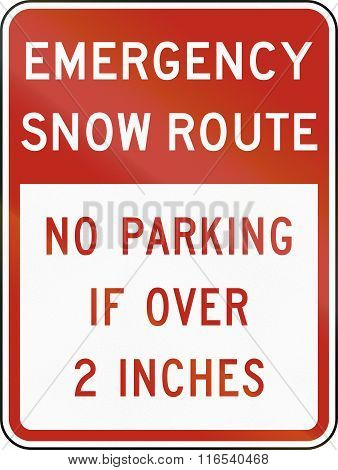 United States Mutcd Regulatory Road Sign - Emergency Snow Route