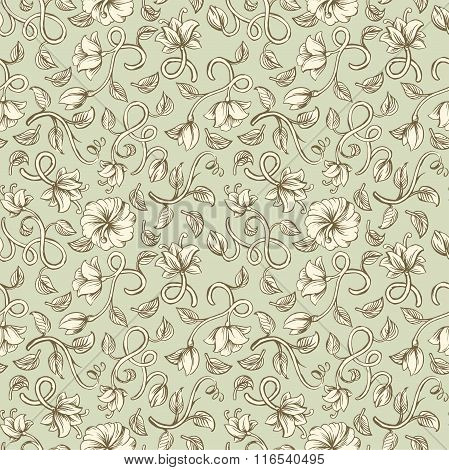 Beautiful vintage seamless ornaments patterns with a different stylized weave flowers on pistachio b