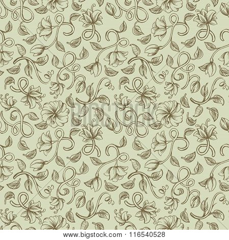 Beautiful vintage seamless ornaments patterns with a different brown stylized weave flowers on pista