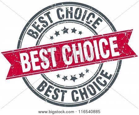 Best Choice Red Round Grunge Vintage Ribbon Stamp