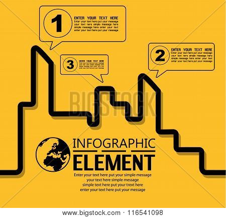 Infographic Simple Template With Steps Parts Options Elements City