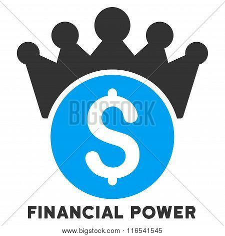 Financial Power Glyph Flat Icon With Caption