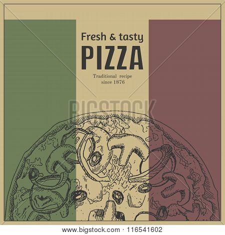Ink hand drawn pizza package box template