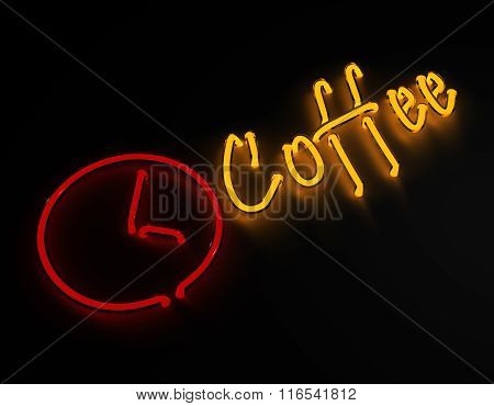 Coffee bar neon sign isolated on black background.