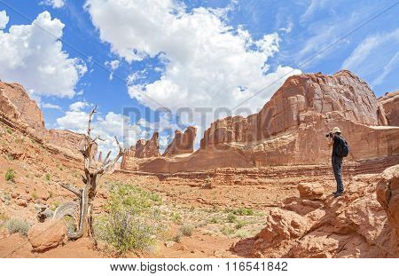 Tourist Taking Pictures Of A Beautiful Scenery, Utah, Usa.