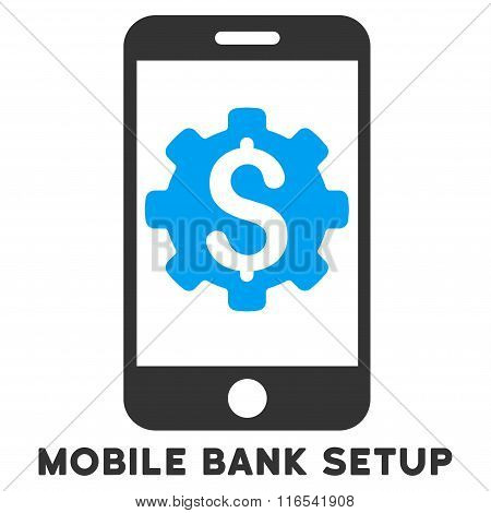 Mobile Bank Setup Glyph Icon With Caption