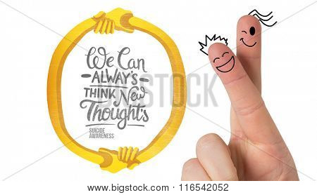 Fingers smiling against suicide awareness