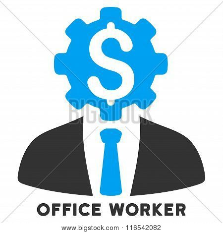 Office Worker Glyph Icon With Caption
