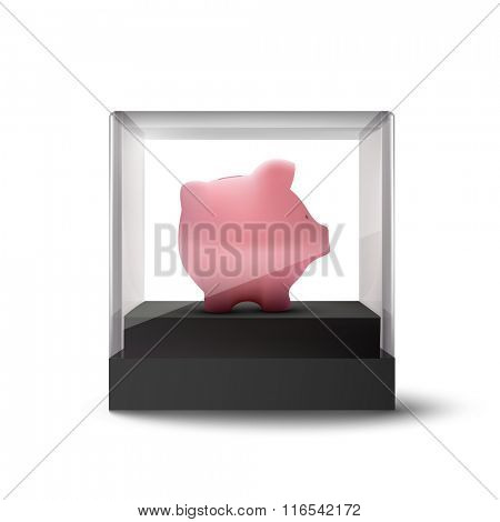 vector piggy bank in a glass cube