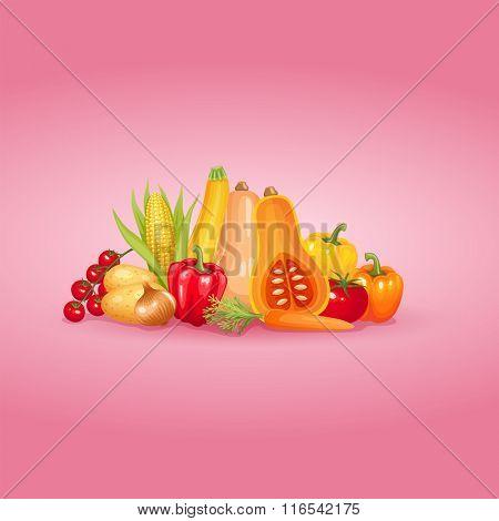 Vegetables background design. Healthy and organic vector illustration.