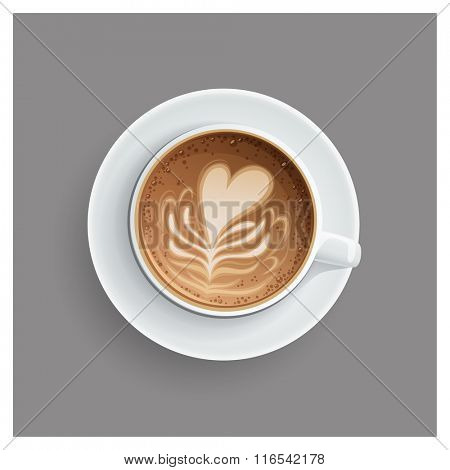 Cappuccino cup with hearts design on top. Coffee cup, vector illustration.
