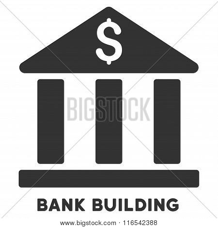 Bank Building Glyph Icon With Caption