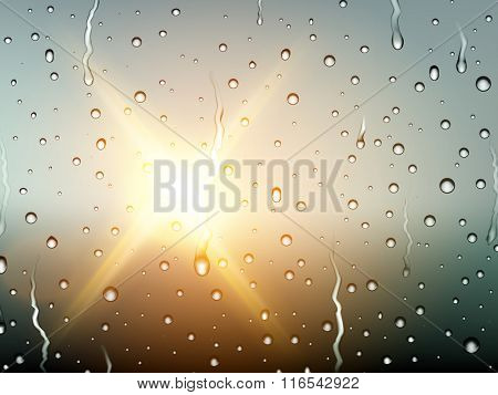 vector raindrops on glass