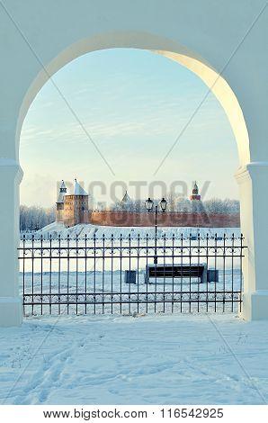 Novgorod Kremlin In Veliky Novgorod, Russia - Winter Sunset Framed Landmark