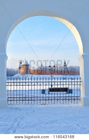 Novgorod Kremlin In Veliky Novgorod, Russia - Winter Sunny Framed View