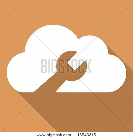 Cloud Tools Long Shadow Square Flat Icon