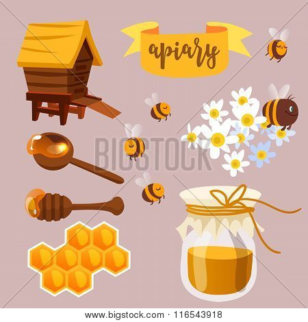 Apiary beekeeper vector illustration. Cartoon concept.