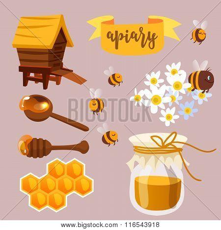 Apiary beekeeper vector illustration. Cartoon concept.
