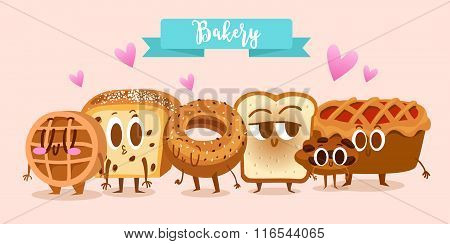 Bakery and pastry products set with various sorts of bread, sweet buns, cupcakes, dough and cakes fo
