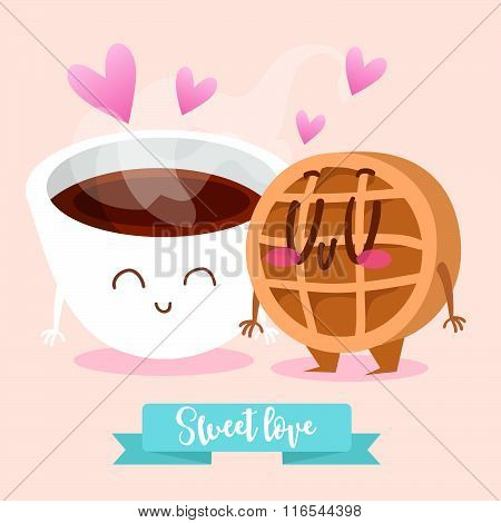 Postcard Valentine's Day. Tea and Wafer. Comic food. Illustration with funny characters. Love and he