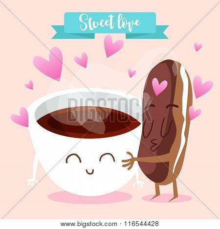 Postcard Valentine's Day. Cup of coffee with eclairs. Comic food. Illustration with funny characters