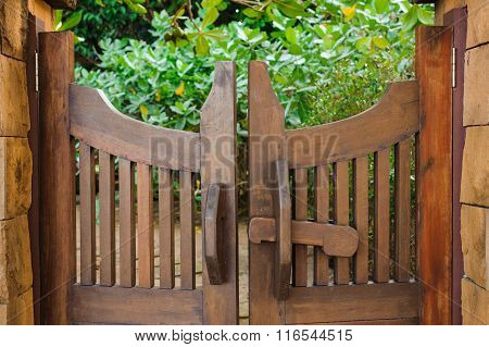Wooden Gate  On Green Background