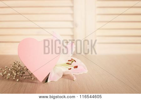 Valentines Day Card And Flowers