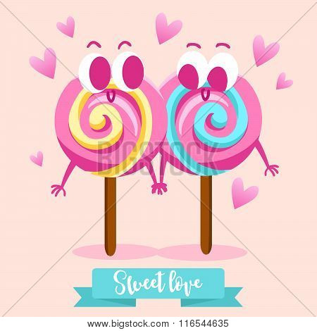 Postcard Valentine's Day. Two in love candy. Sweet couple. Comic food. Illustration with funny chara