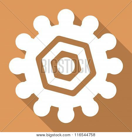 Gear Long Shadow Square Icon
