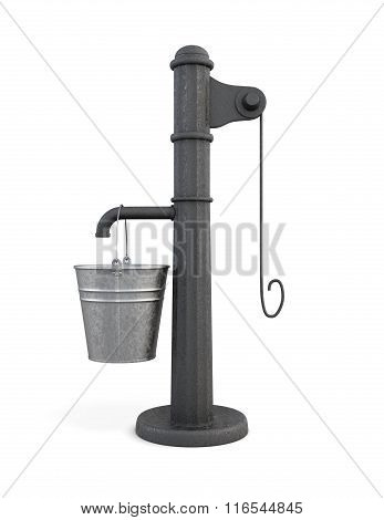 Water pump with bucket on a white background. 3d rendering