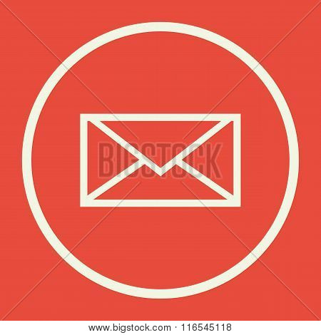 Envelope Icon, On Red Background
