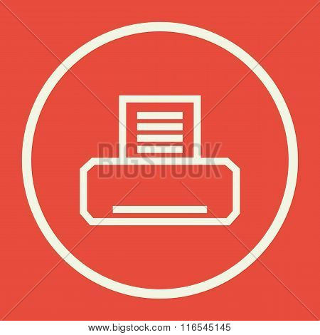 Fax Icon, On Red Background