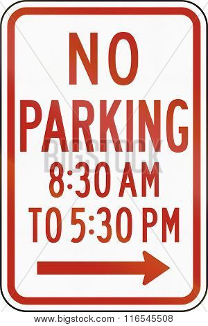 United States Mutcd Regulatory Road Sign - No Parking At Times