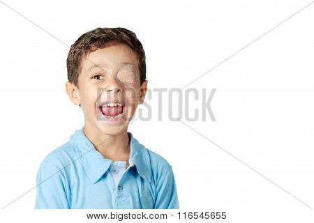 Child With Eye Patch Isolated On White Background