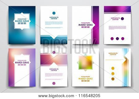 Set of brochure, poster design templates in Mardi Gras style