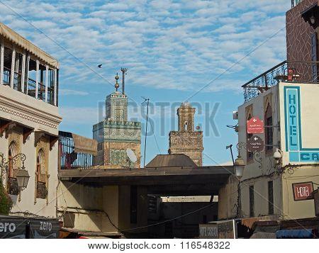Medersa Bou Inania Mosque Minaret In Fez El Bali. Morocco.