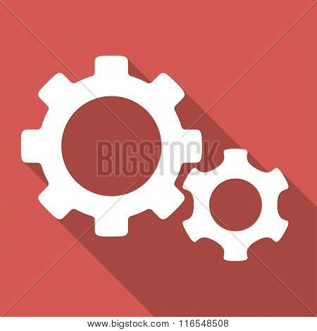 Gears Long Shadow Square Icon