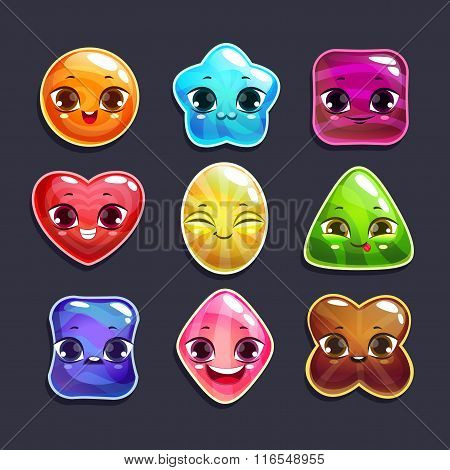 Funny cartoon candy characters set