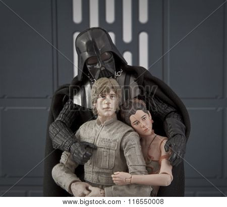 Bloomfield, Nj - Jan 31, 2016: A Skywalker Family Portrait With Darth Vader, Luke And Leia Using Has