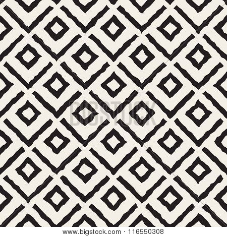 Vector Seamless Black And White Hand Painted Line Corner Rhombus Shape Pattern