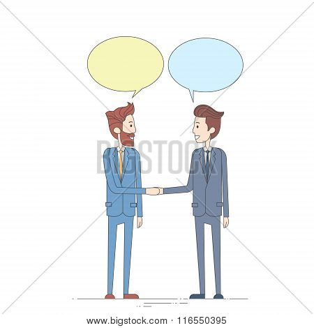 Two Businessman Hand Shake Talking Chat Box Bubble Communication Concept, Business Man Handshake