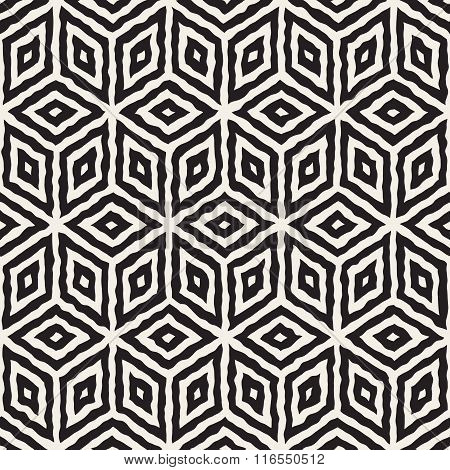 Vector Seamless Black And White Hand Painted Geometric Rhombus Lines Cubic Pattern