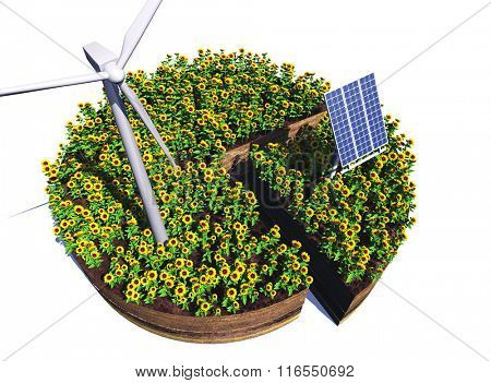 Of wind generators and solar panels on a white background
