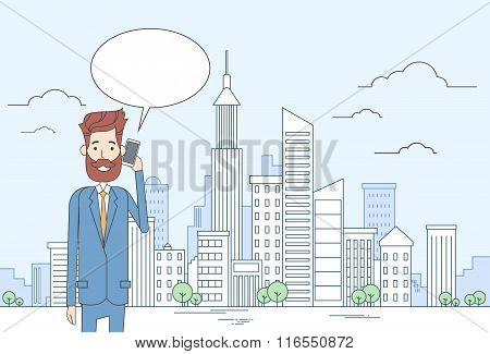 Business Man Smart Cell Phone Talk Businessman Chat Bubble Communication Over Big City View