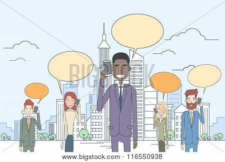 Businesspeople Group Smart Cell Phone Talk Chat Bubble Communication Over Big City View