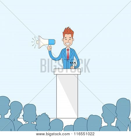 Businessman Hold Megaphone Loudspeaker Stand Tribune Speech