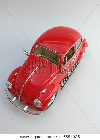 WOLFSBURG GERMANY - CIRCA APRIL 2015: Miniature Representation of Volkswagen Type-1 aka Classical Beetle from 1967 produced as a children's toy in China circa 2008