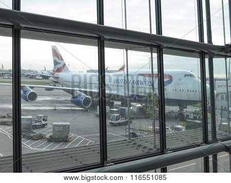 LONDON HEATHROW UK - CIRCA DECEMBER 2014: A Boeing 747 Jumbo aircraft of the British Airways parked at the airport