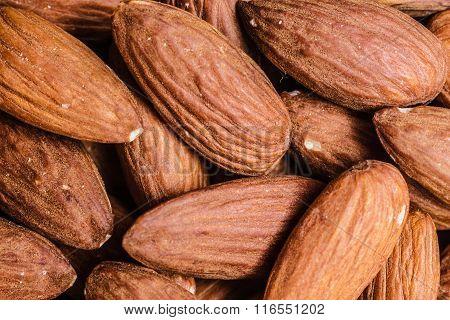 Peeled Almonds Closeup As Background